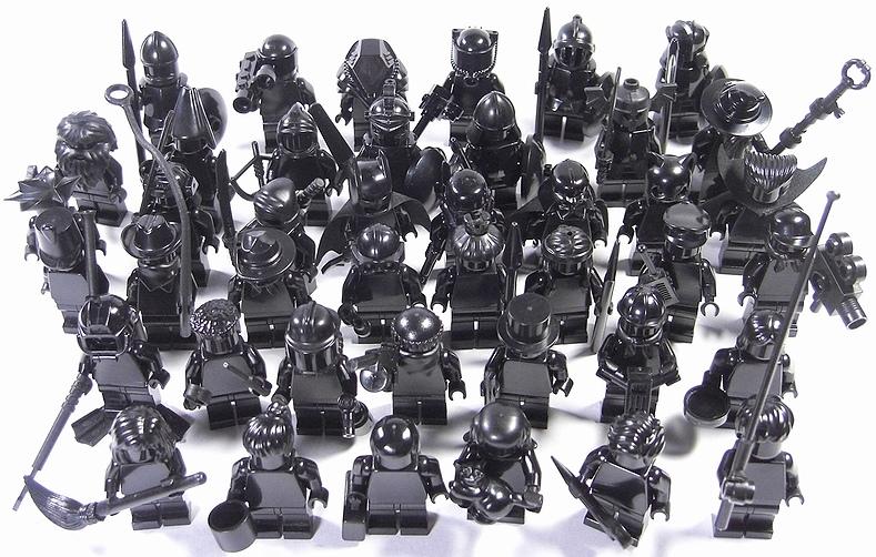 All Black custom Lego Minifig army