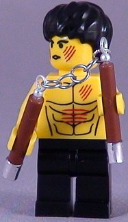 custom bruce lee minifig and nunchucks by shmails