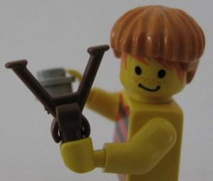 Lego custom minifig slingshot