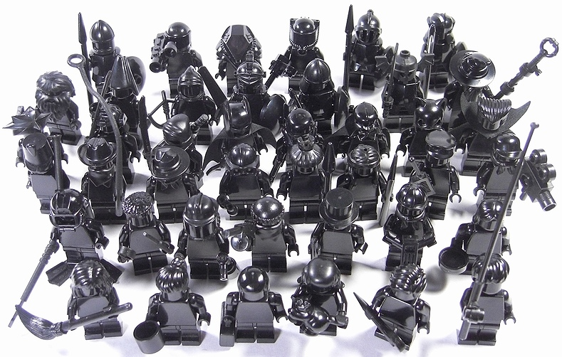 All Black custom Lego Minifig army