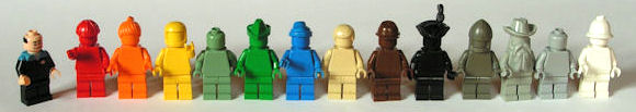 Lego colour spectrum minifigs