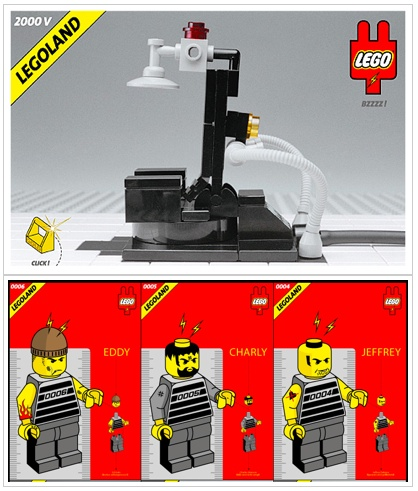 Lego electric chair and custom minifig inmates