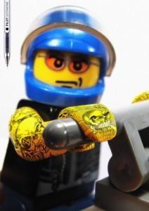 tattooed lego minifig biker
