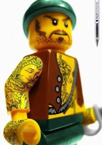 tattooed lego custom minifig pirate