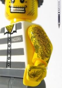 tattooed lego minifigure custom inmate