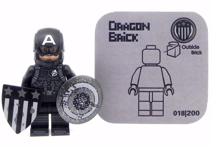 Dragon Brick Captain America Black Suit Custom Minifigure